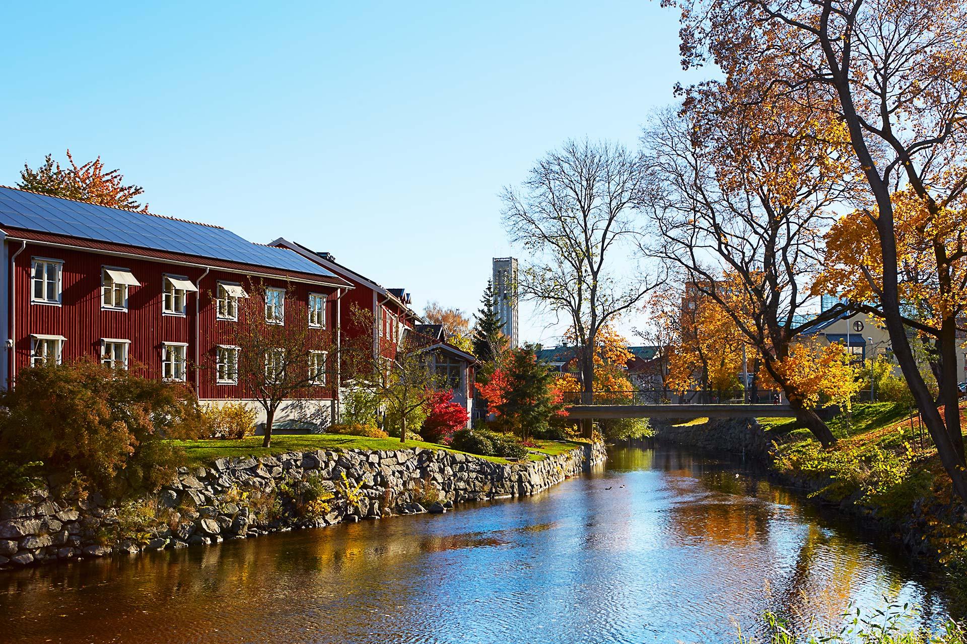 Svartån och Västerås i höstskrud. Fotograf: Kristoffer Hasselberg